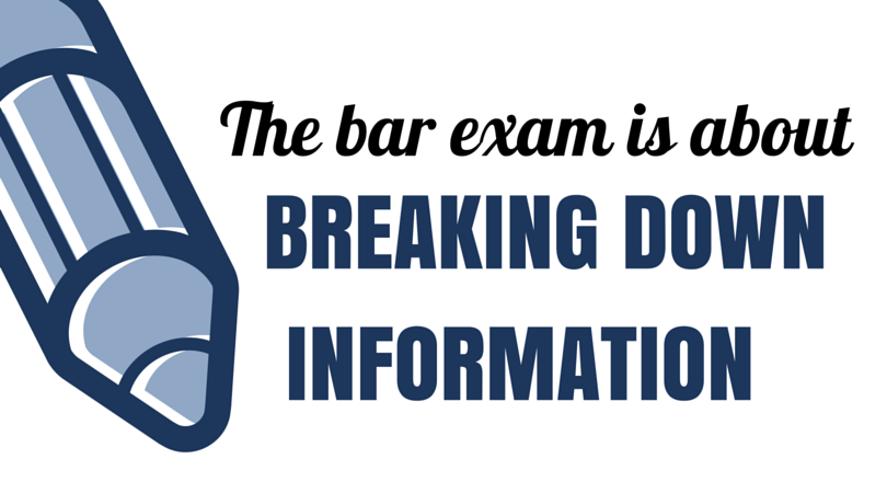 The bar exam is about breaking down information