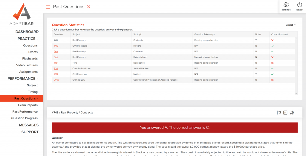 AdaptiBar MBE Simulator Prep new features past question reports